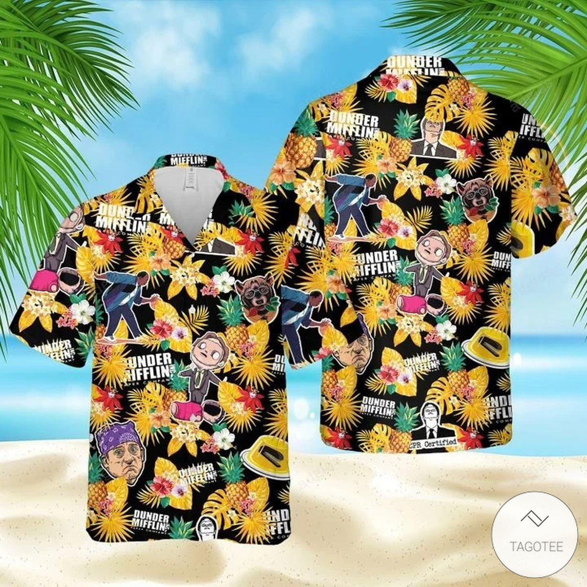 Dunder Mifflin Tropical Hawaiian Shirt, Beach Shorts