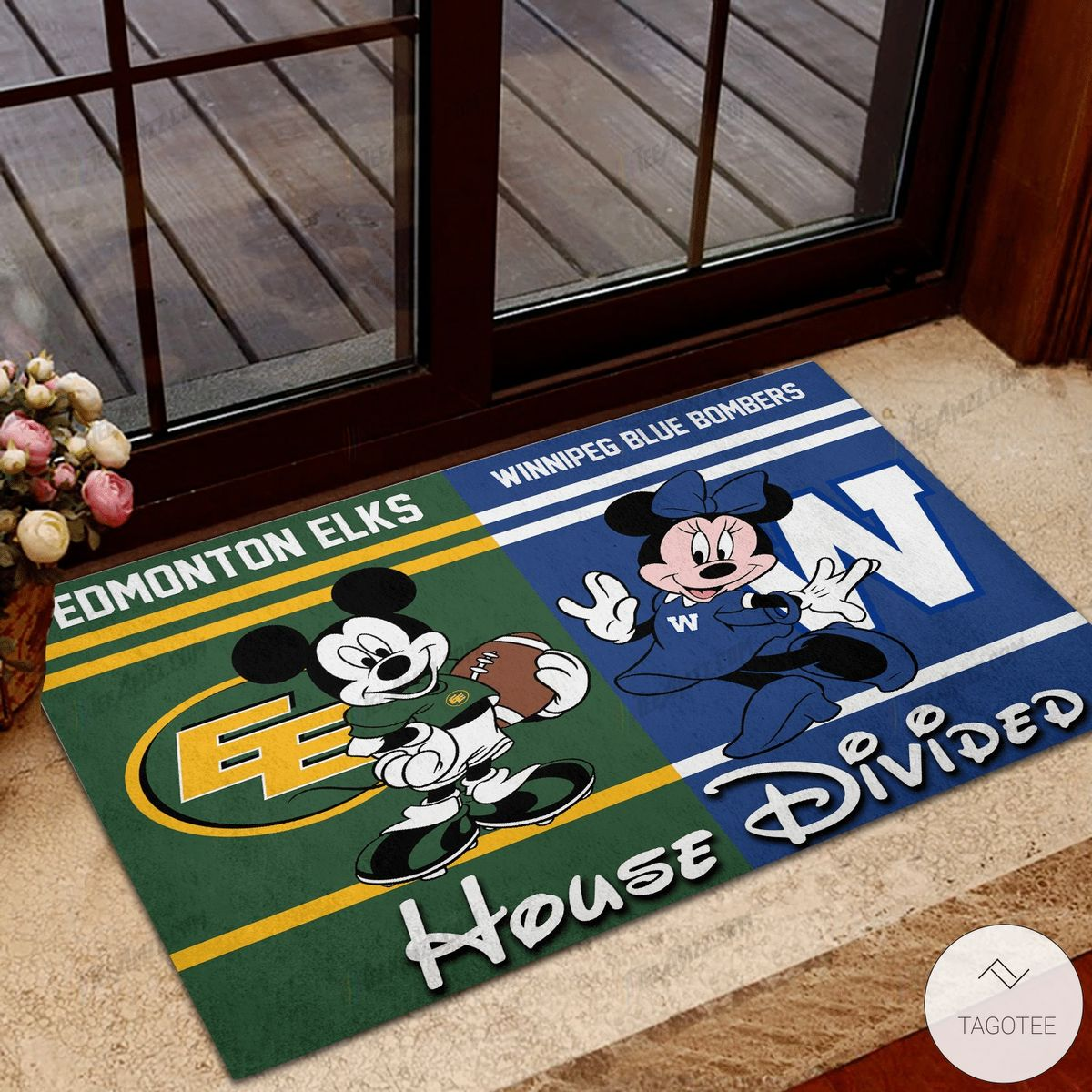 Edmonton Elks House Divided Winnipeg Blue Bombers Mickey Mouse And Minnie Mouse Doormat