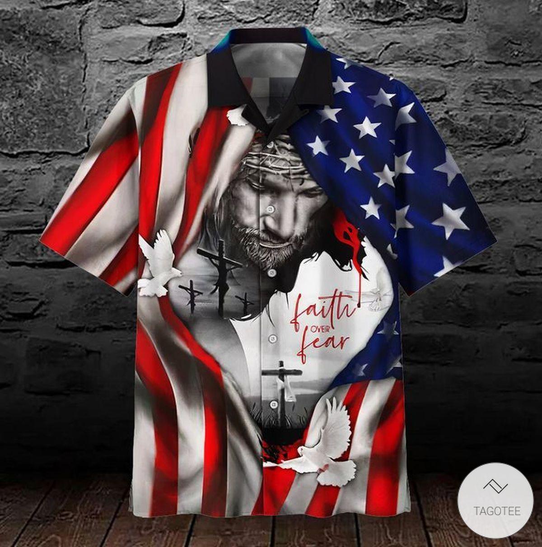 Faith Over Fear Jesus Pigeon Flag 3D Hawaiian Shirtz