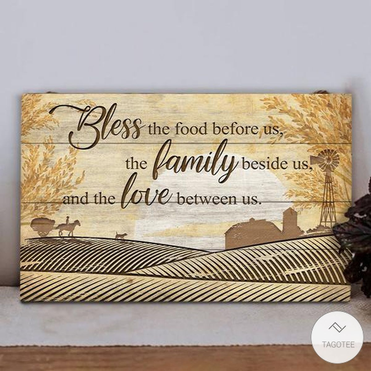 Farm Bless The Food Before Us, The Family Beside Us And The Love Between Us Rectangle Wood Signz