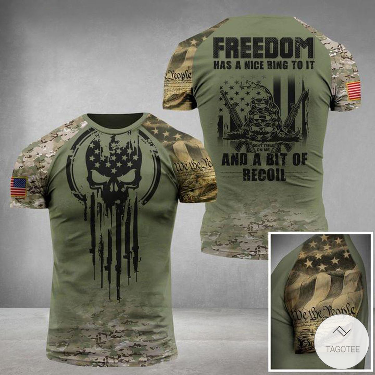 Freedom Has A Nice Ring To It And A Bit Of Recoil Skull Military 3D T-shirt