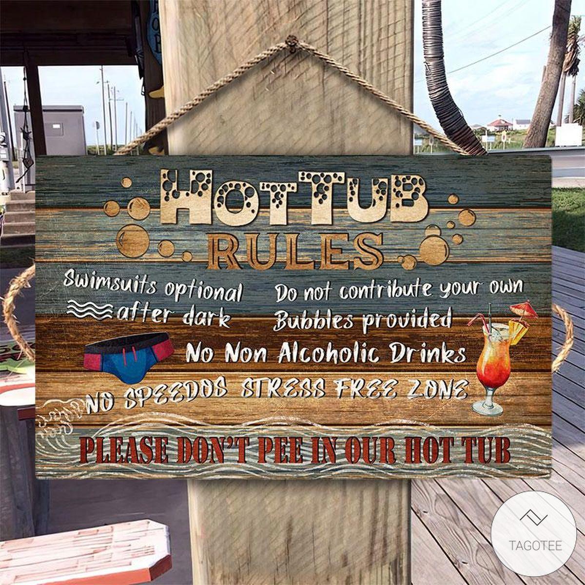Hot Tub Rules Rectangle Wood Sign