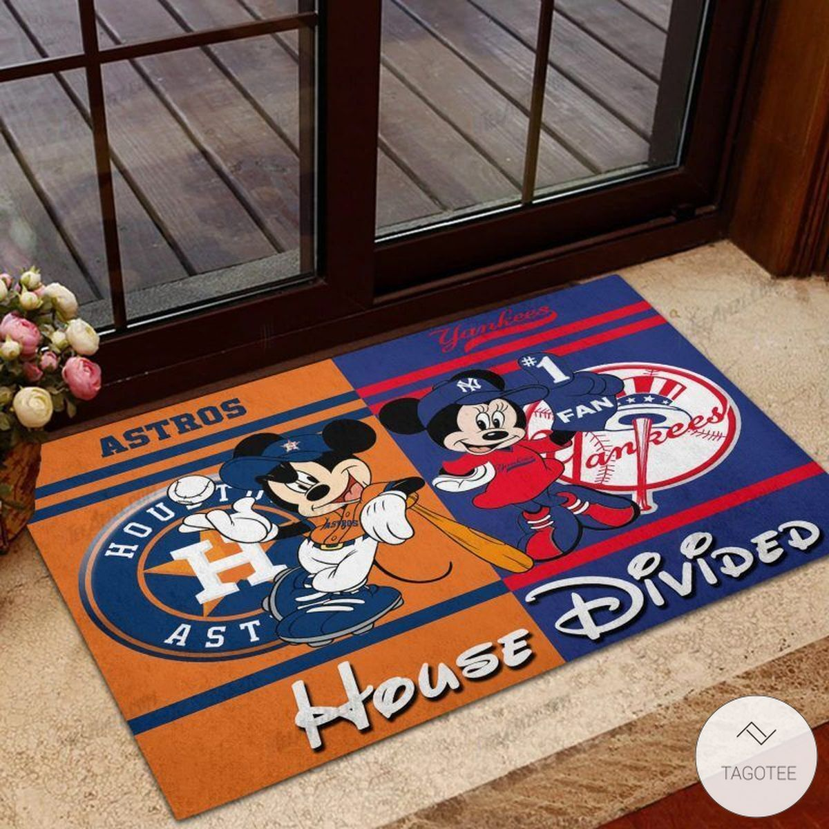 Houston Astros House Divided Yankees Mickey Mouse And Minnie Mouse Doormat