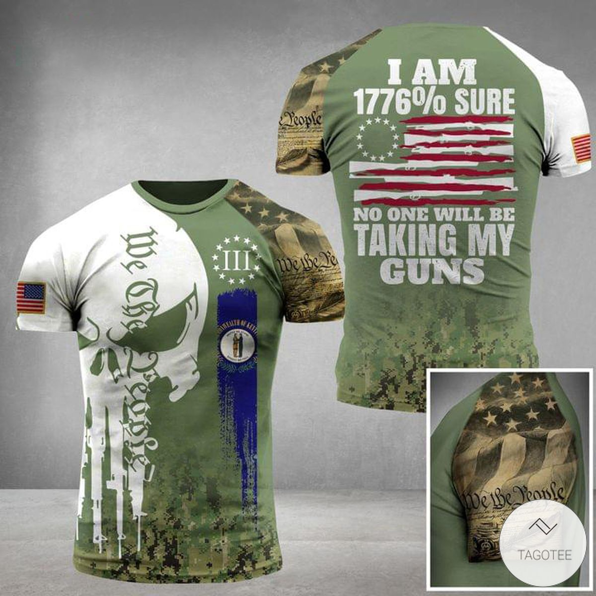 I Am 1776% Sure No One Will Be Taking My Guns Military Skull 3D T-Shirt