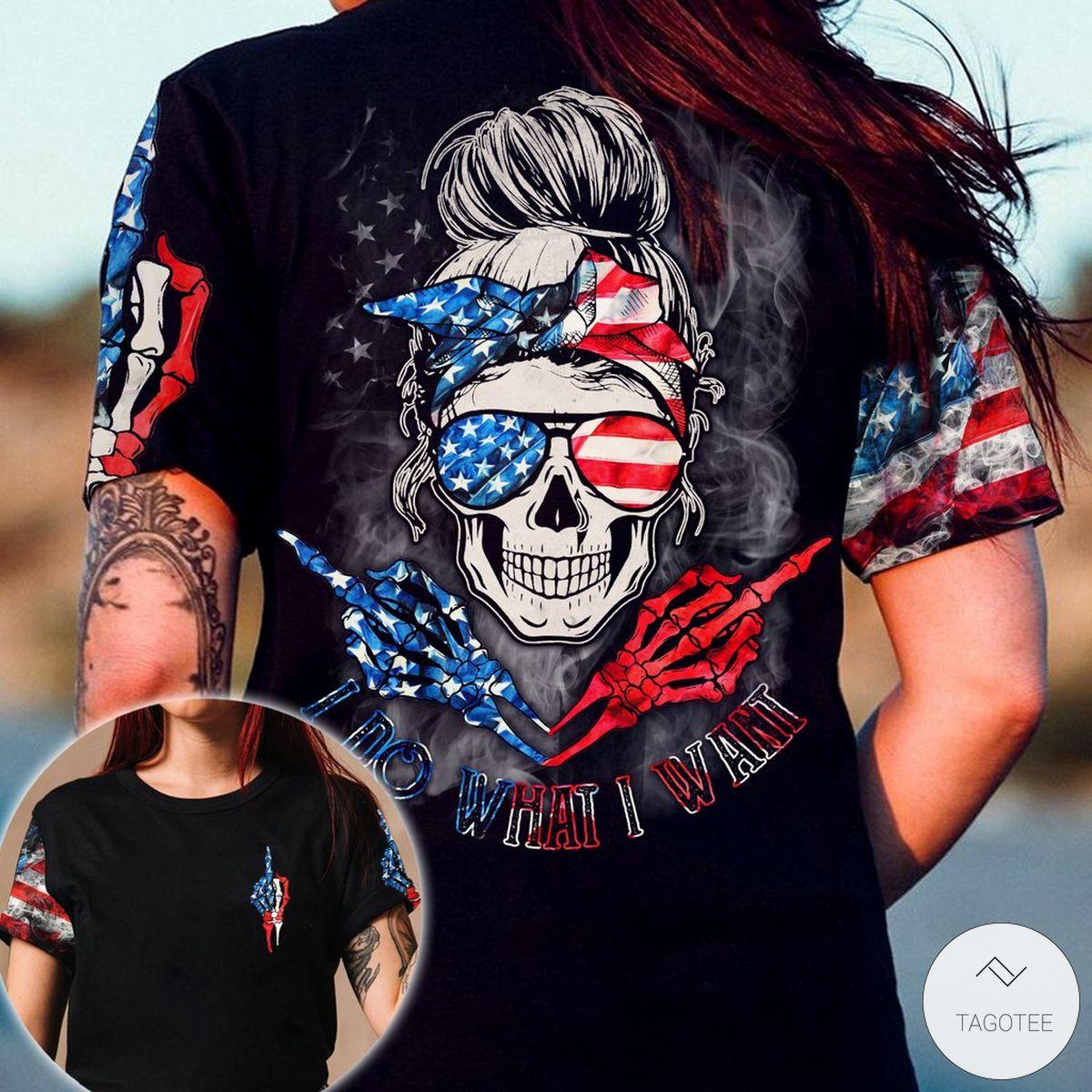 I Do What I Want Skull Girl 3D T-Shirt