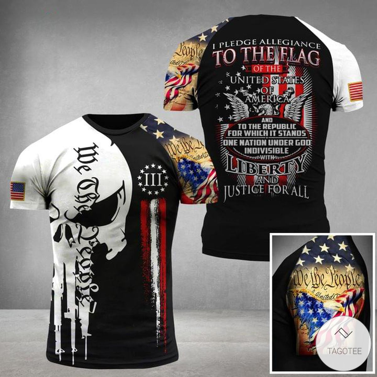 I Pledge Allegiance To The Flag Of The United States Of America Liberty And Justice For All Military Skull Military 3D T-shirt