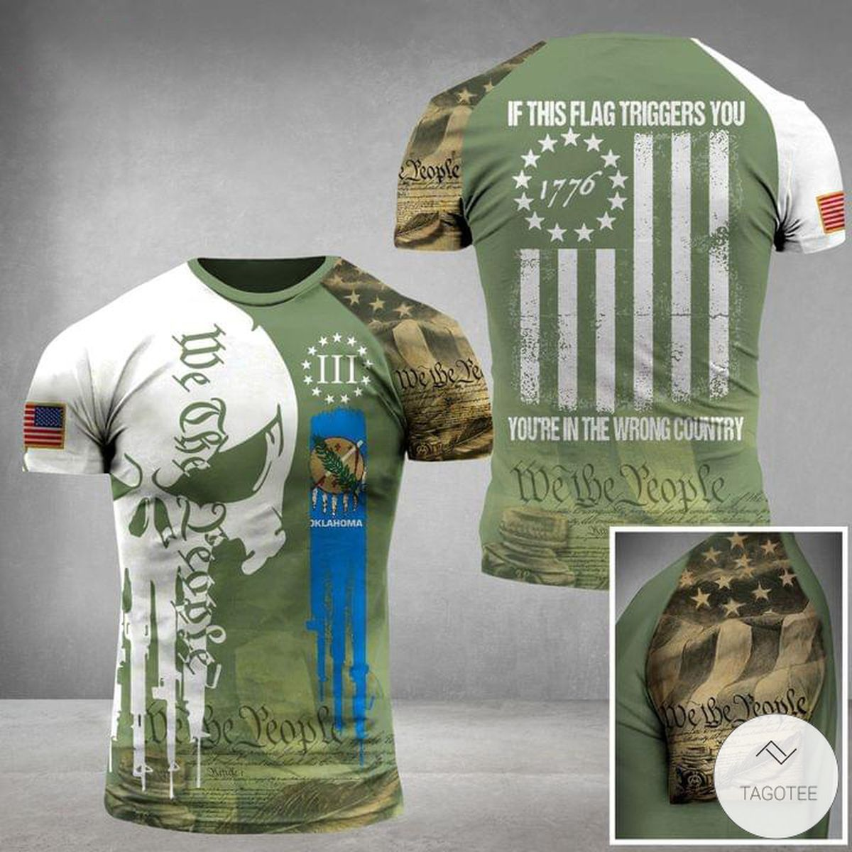 If This Flag Triggers You You're In The Wrong Country Skull Military 3D T-shirt