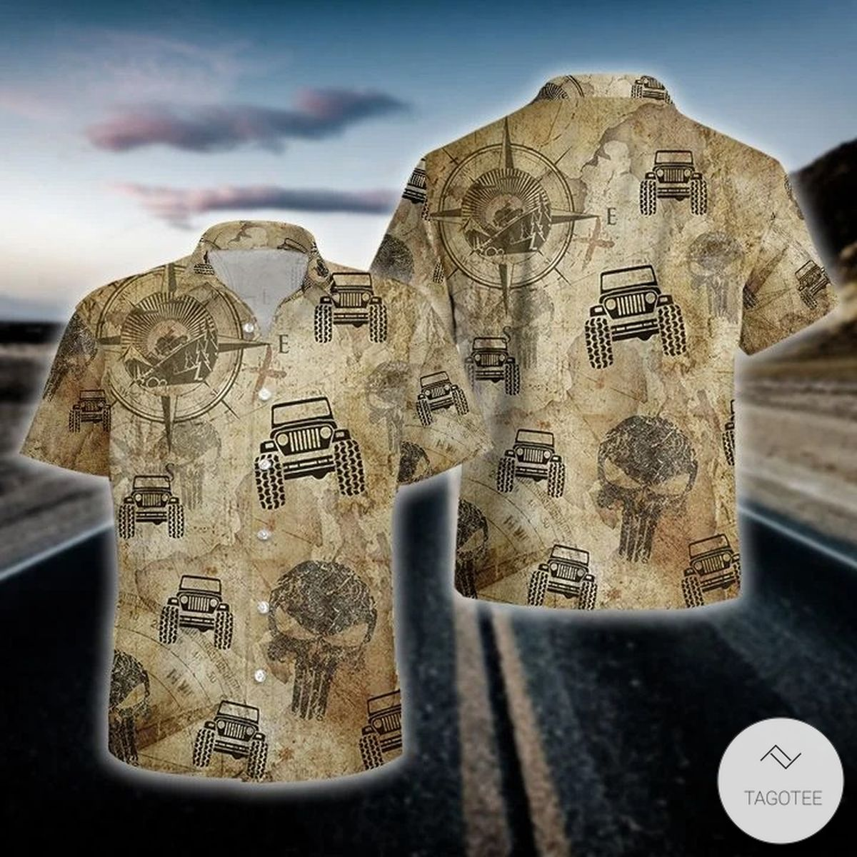 Jeep Compass Maps Hawaiian Shirtz