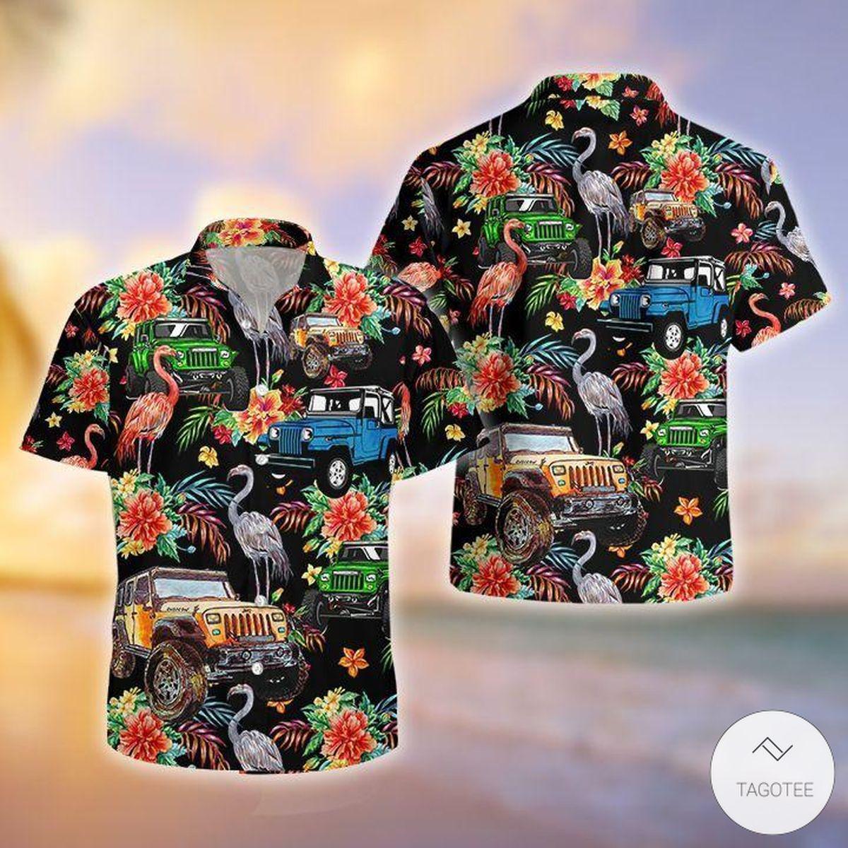 Jeeps And Flamingo Hawaiian Shirt