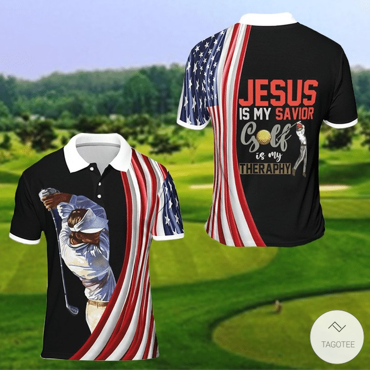Jesus Is My Savior Golf Is My Therapy Polo Shirt
