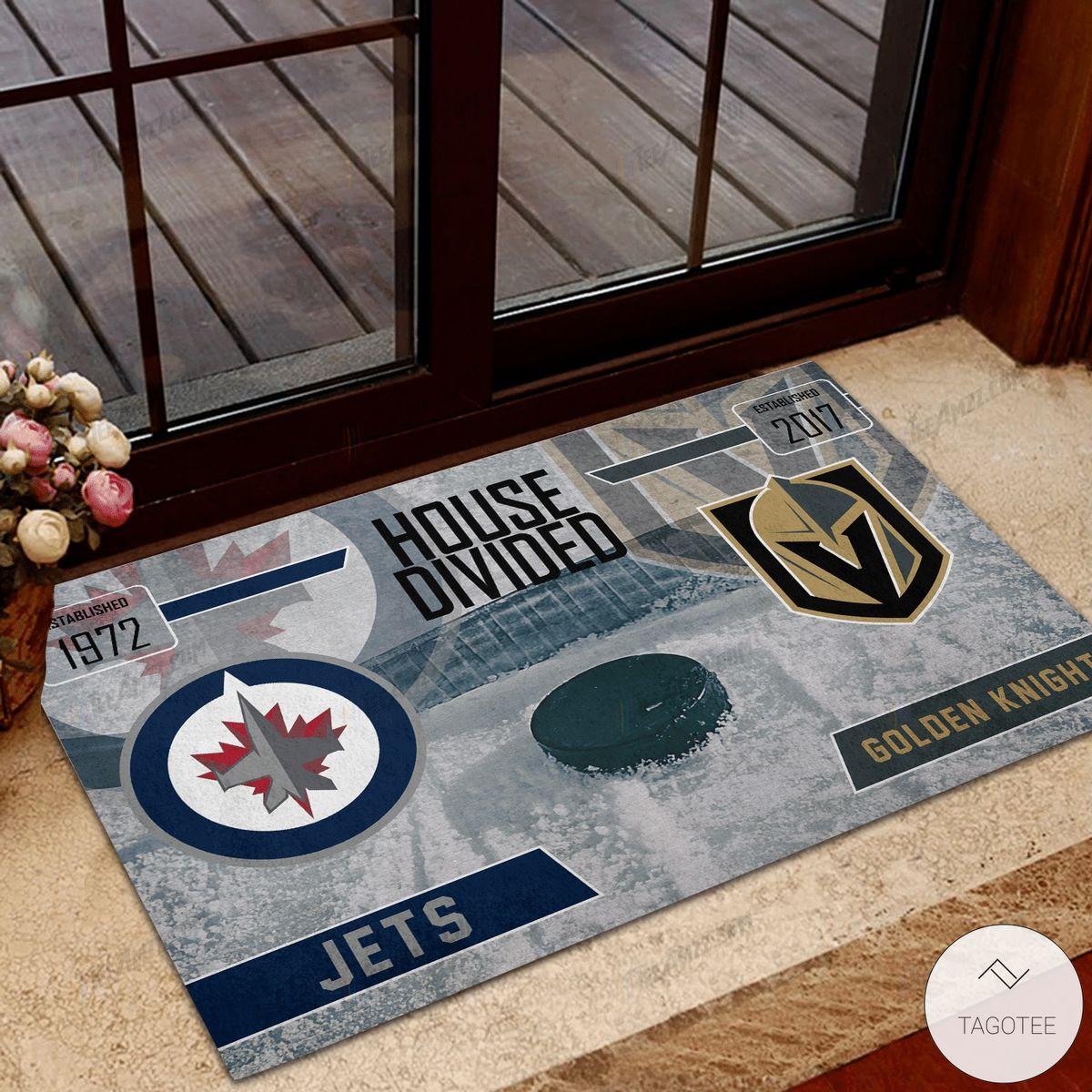 Jets House Divided Golden Knight Doormat