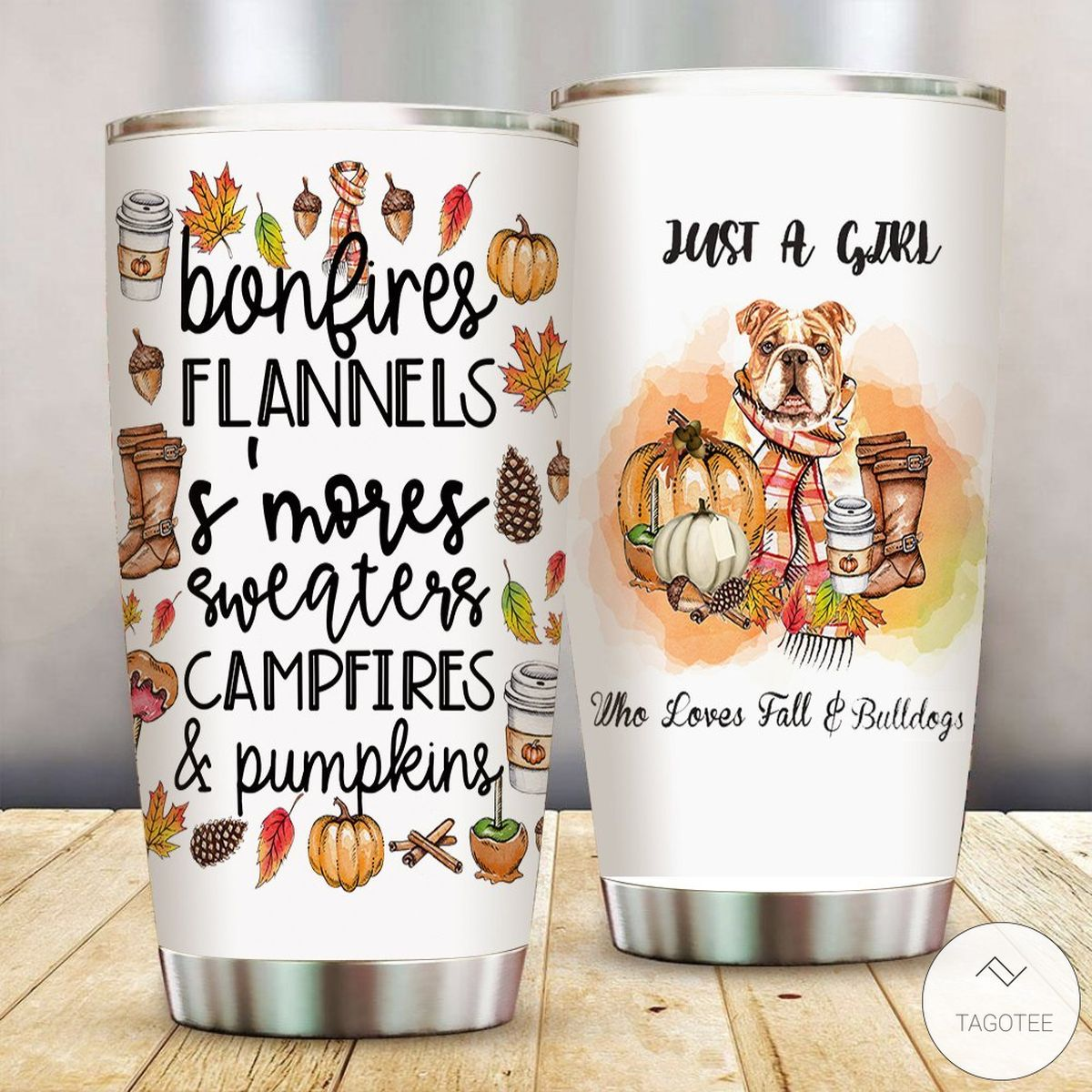 Just A Girl Who Loves Fall And Bulldogs Tumbler