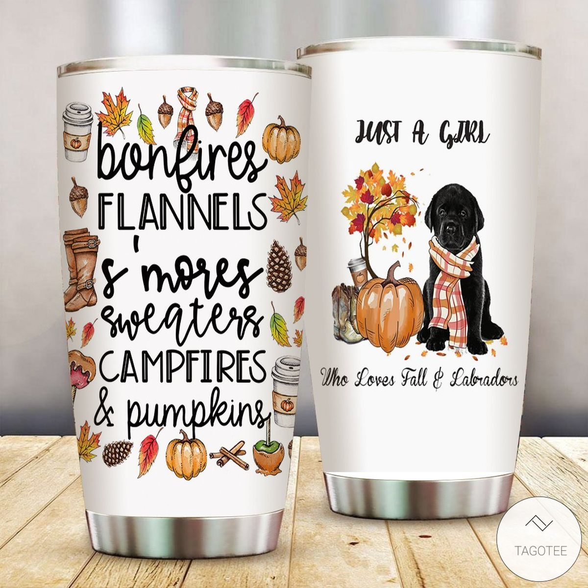 Just A Girl Who Loves Fall And Labradors Tumbler