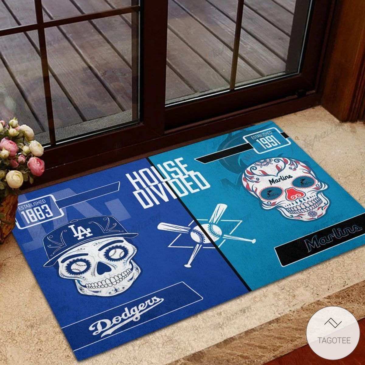 LA Dodgers House Divided Miami Marlins Skull Doormat