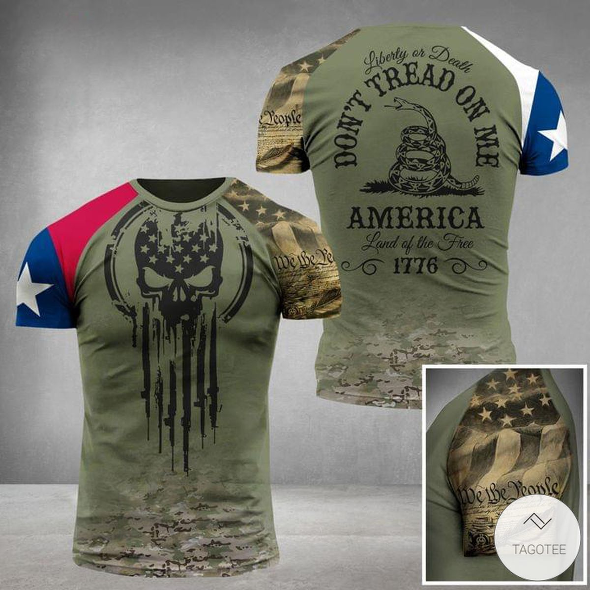 Liberty or Death Don't Tread On Me America Land Of The Fire 1776 Military Skull 3D T-shirt