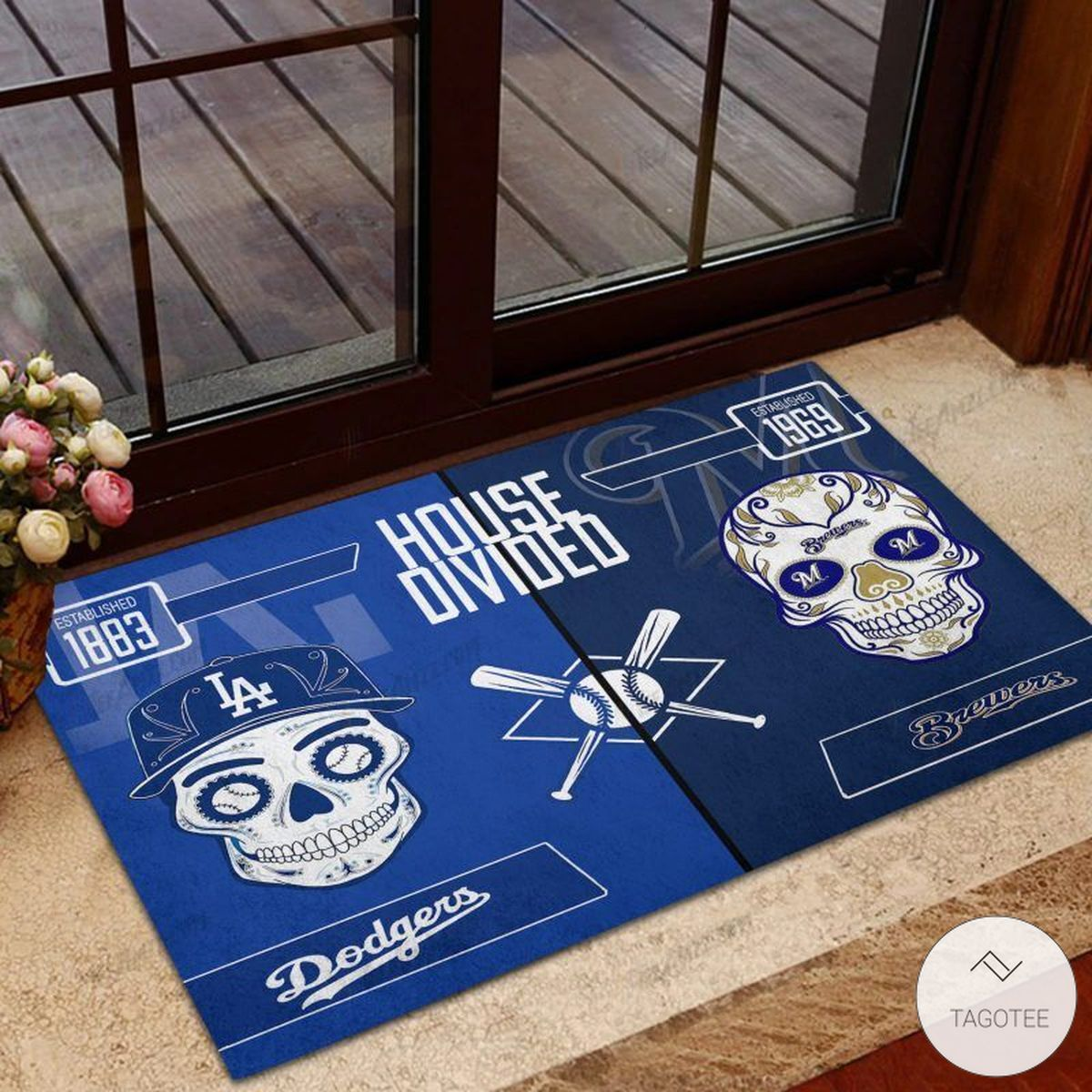 Los Angeles Dodgers House Divided Milwaukee Brewers Skull Doormat