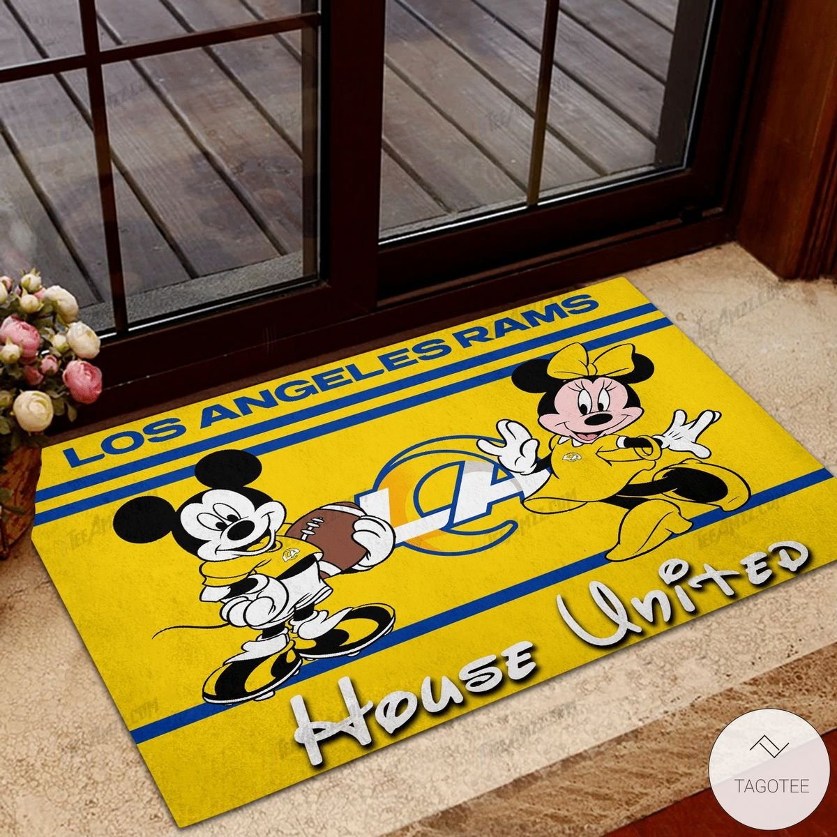 Los Angeles Rams House United Mickey Mouse And Minnie Mouse Doormat