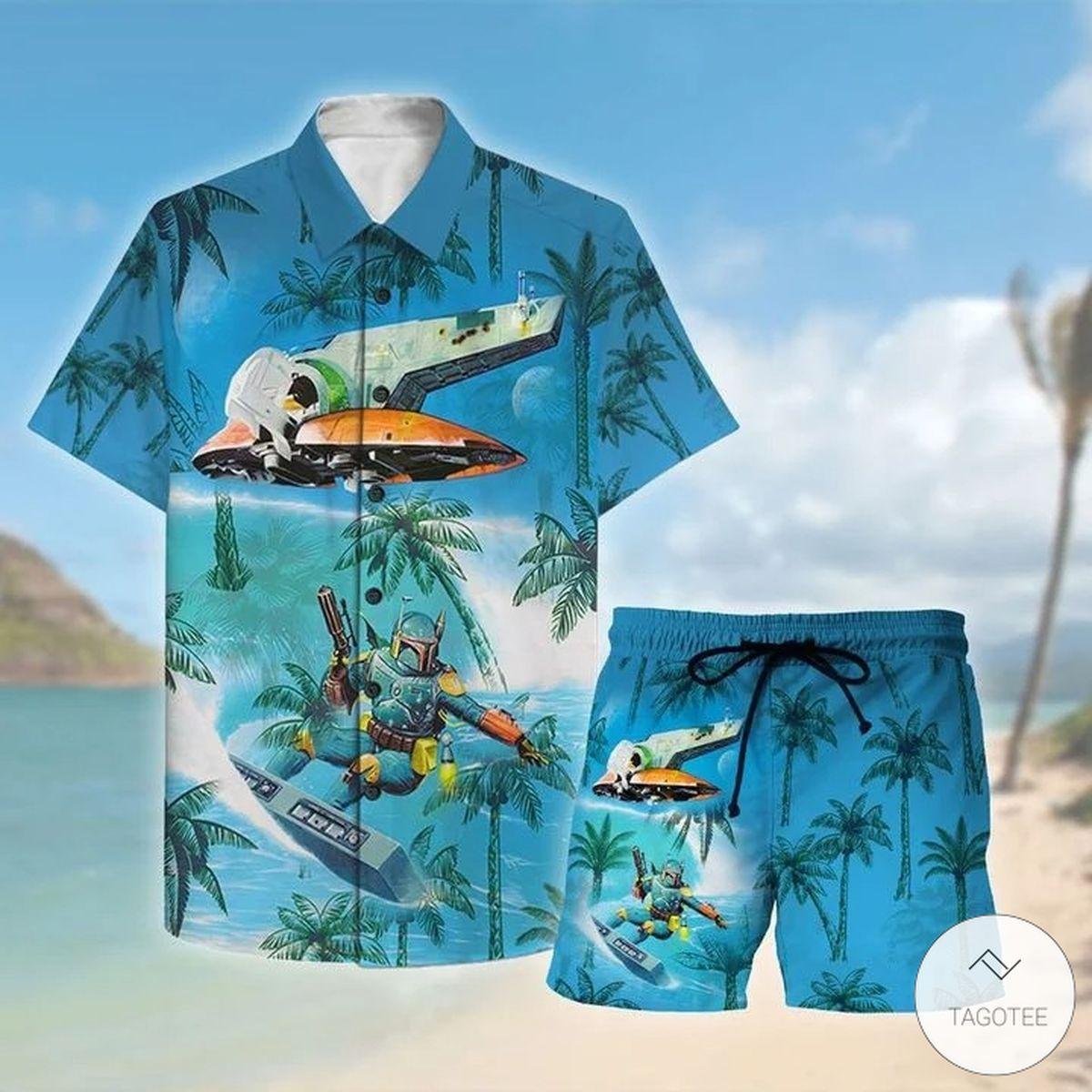 Wonderful Mandalorian Surfing Hawaiian Shirt, Beach Shorts