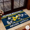 Michigan Wolverines House United Mickey Mouse And Minnie Mouse Doormat