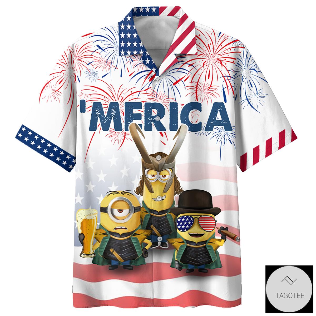 Minions Independence Day Hawaiian Shirt, Beach Shorts