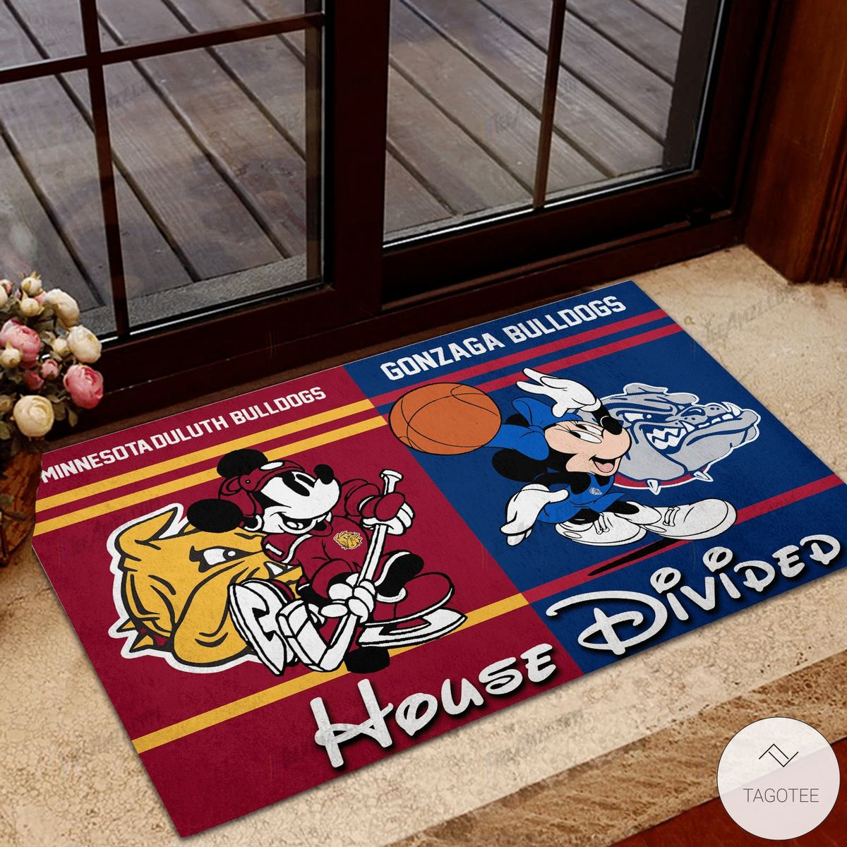 Minnesota Duluth Bulldogs House Divided Gonzaga Bulldogs Mickey Mouse And Minnie Mouse Doormat