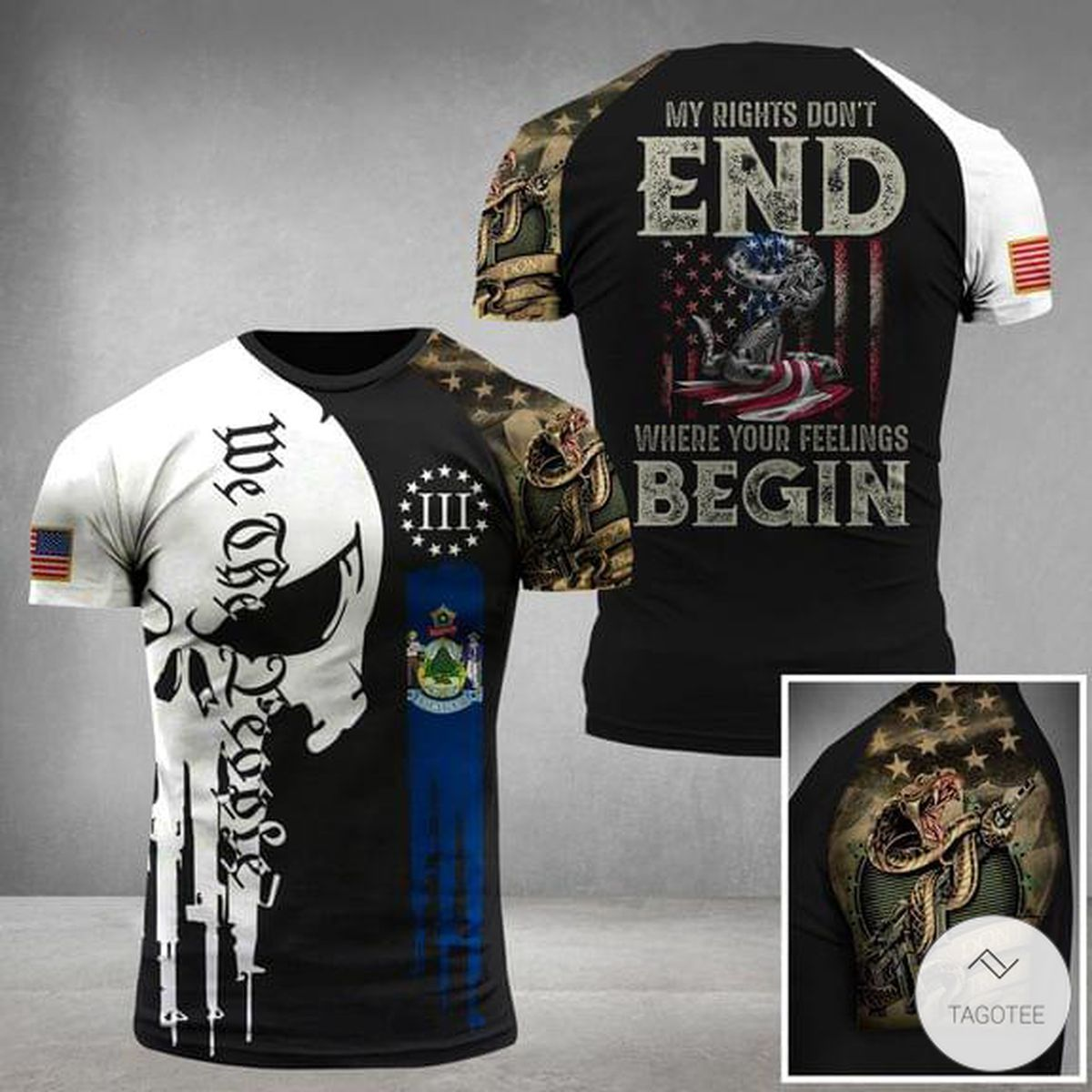 My Rights Don't End Where Your Feelings Begin Skull Military 3D T-shirt