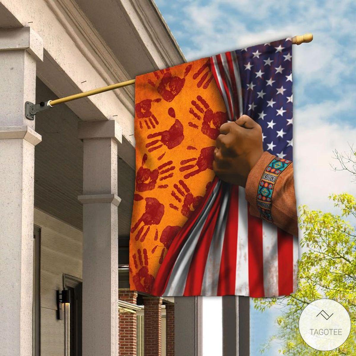 Native American Handprint American House Flag
