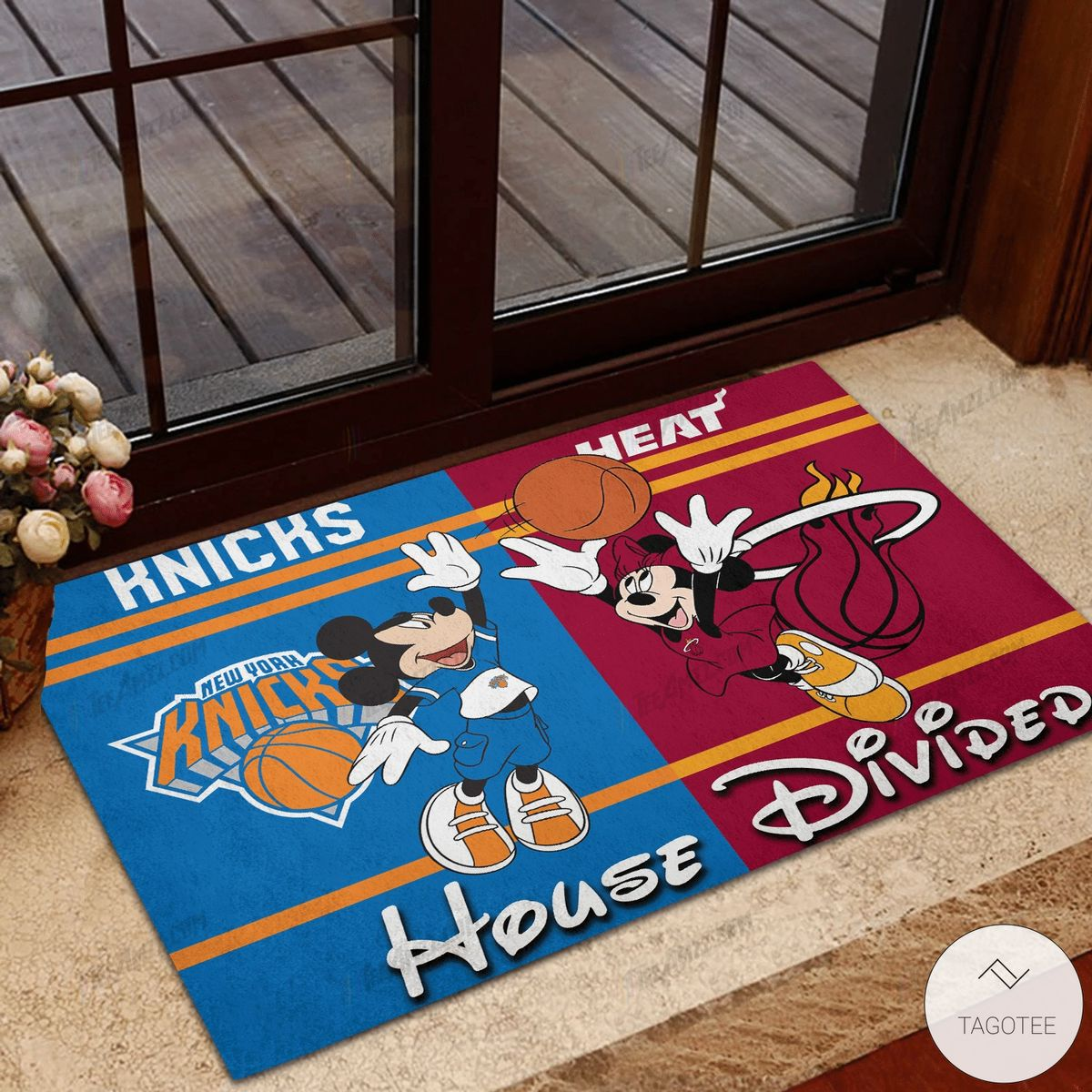 New York Knicks House Divided Miami Heat Mickey Mouse And Minnie Mouse Doormat