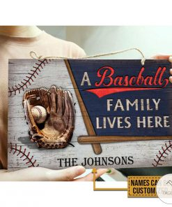 Personalized A Baseball Family Lives Here Rectangle Wood Signx