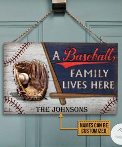 Personalized A Baseball Family Lives Here Rectangle Wood Signz