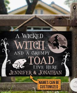 Personalized A Wicked Witch And A Grumpy Toad Live Here Rectangle Wood Sign