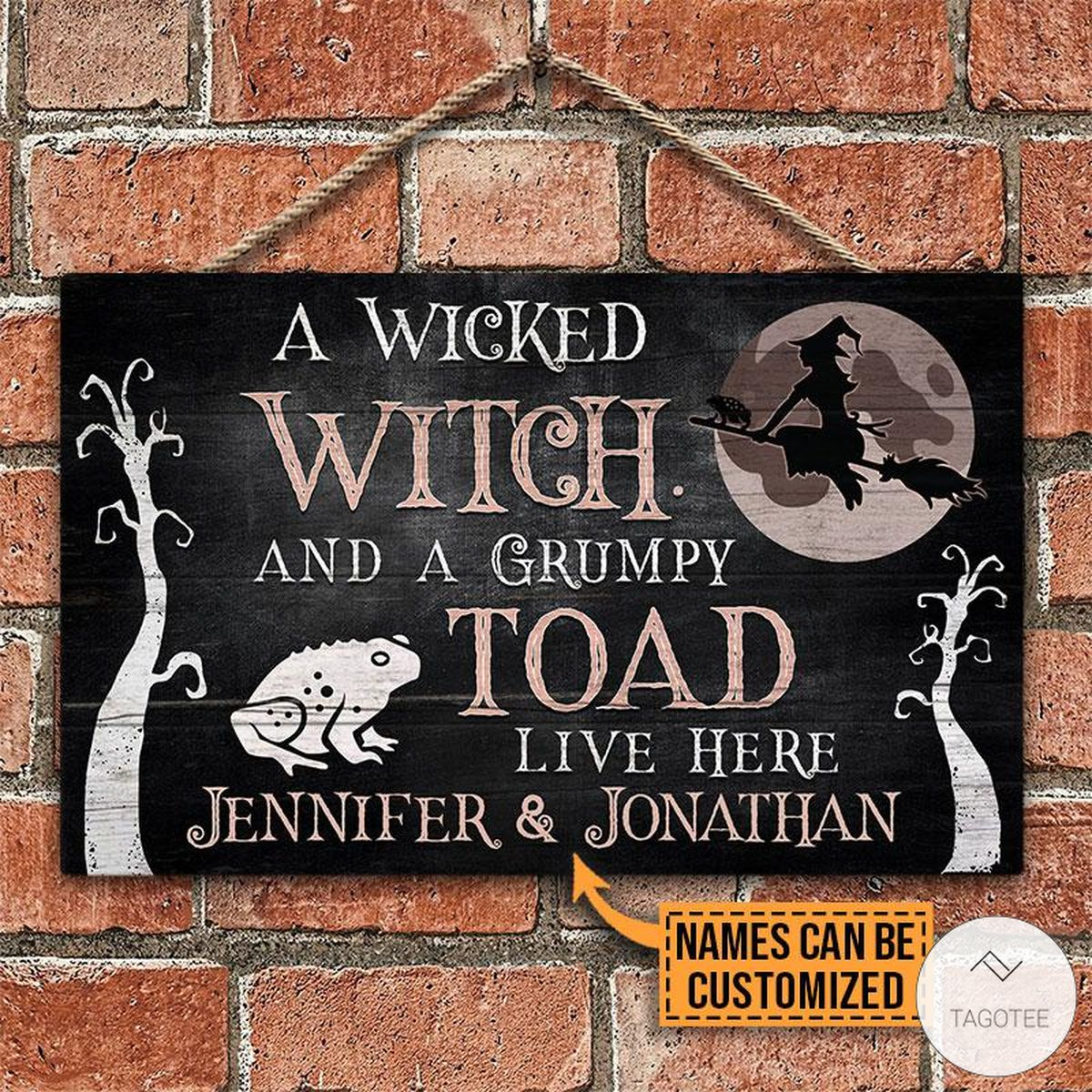 Personalized A Wicked Witch And A Grumpy Toad Live Here Rectangle Wood Signz