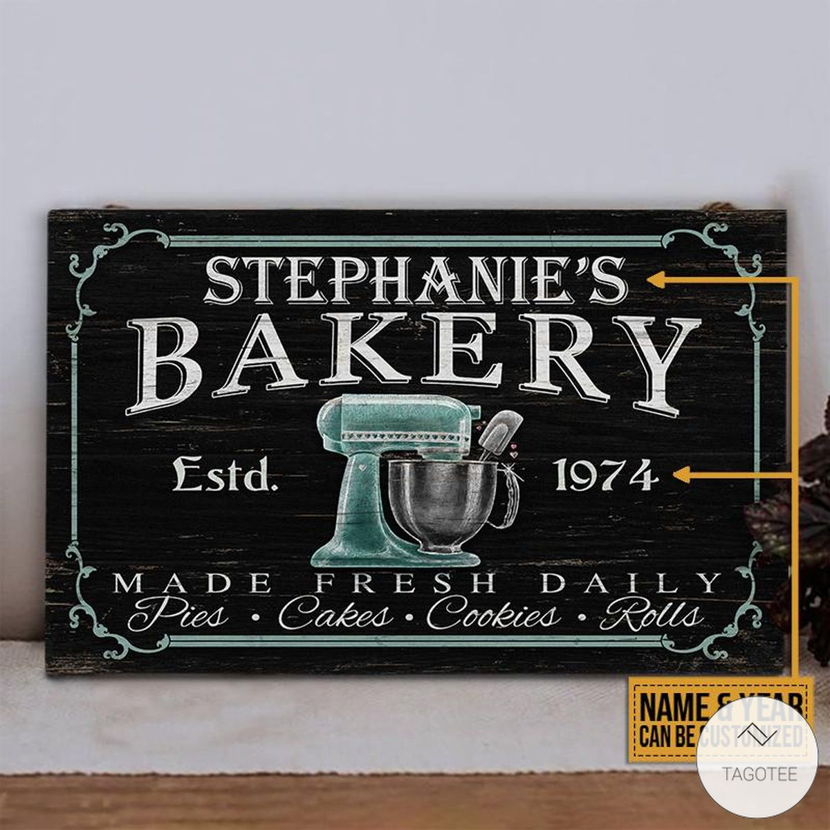 Personalized Baking Bakery Made Fresh Daily Rectangle Wood Signz