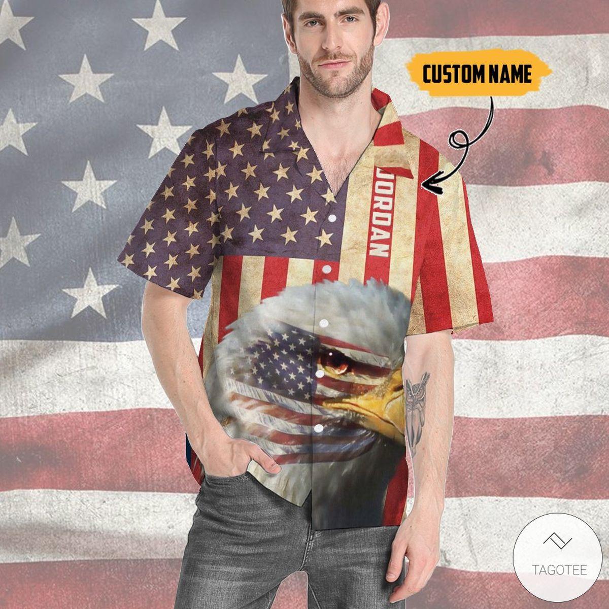 Personalized Bald Eagle Flag Vintage Hawaiian Shirt