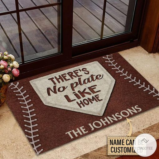 Personalized Baseball No Plate Like Home Doormat