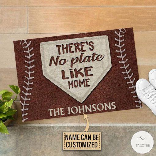 Personalized Baseball No Plate Like Home Doormatx