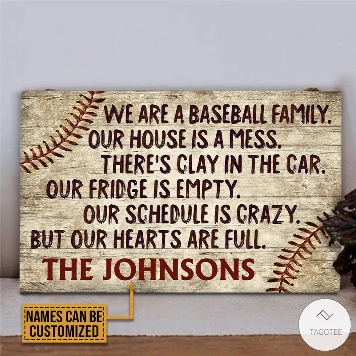 Personalized Baseball We Are A Baseball Family Our House Is A Mess Rectangle Wood Sign z