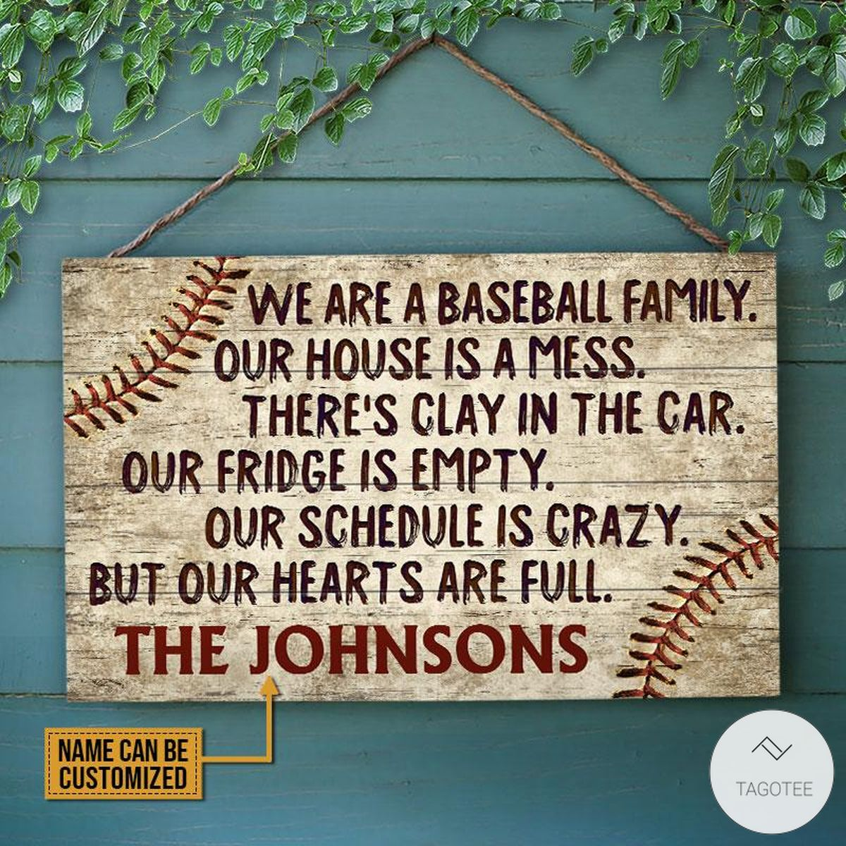 Personalized Baseball We Are A Baseball Family Our House Is A Mess Rectangle Wood Sign