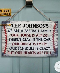 Personalized Baseball We Are A Baseball Family Rectangle Wood Sign z