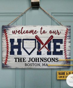 Personalized Baseball Wellcome To Our Home Rectangle Wood Sign z