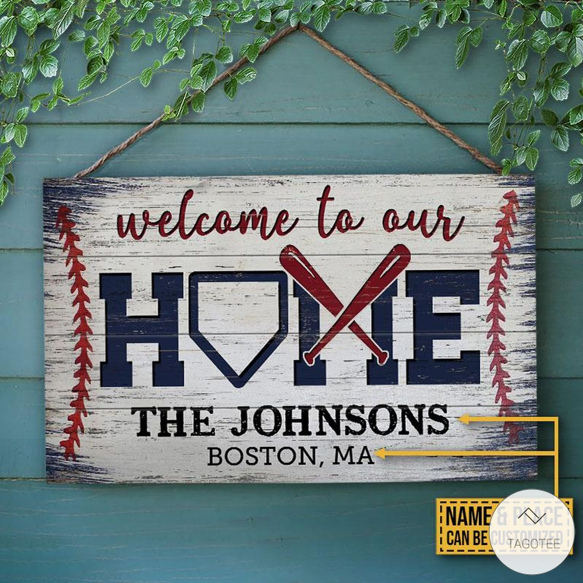 Personalized Baseball Wellcome To Our Home Rectangle Wood Sign