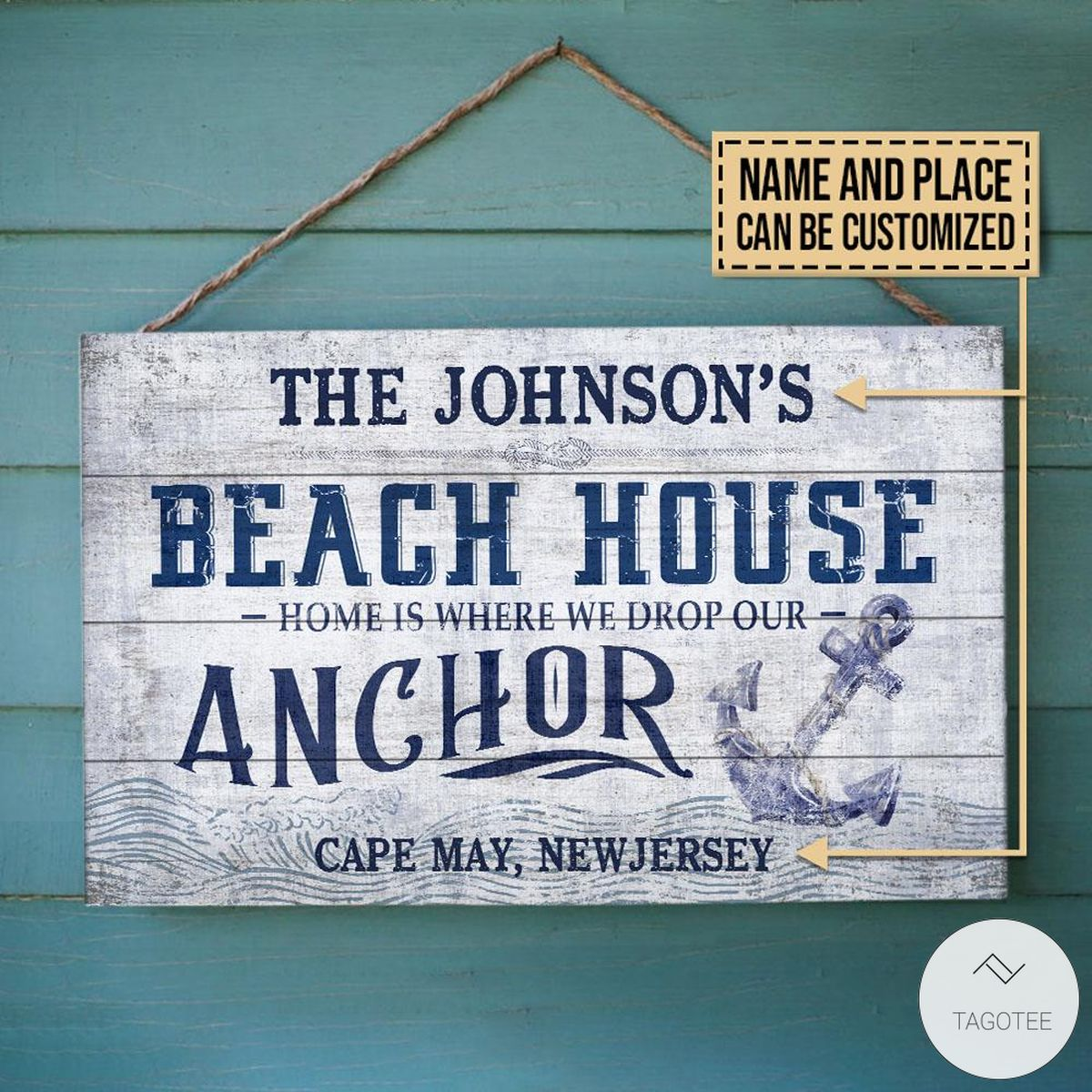 Personalized Beach House Drop Our Anchor Rectangle Wood Sign