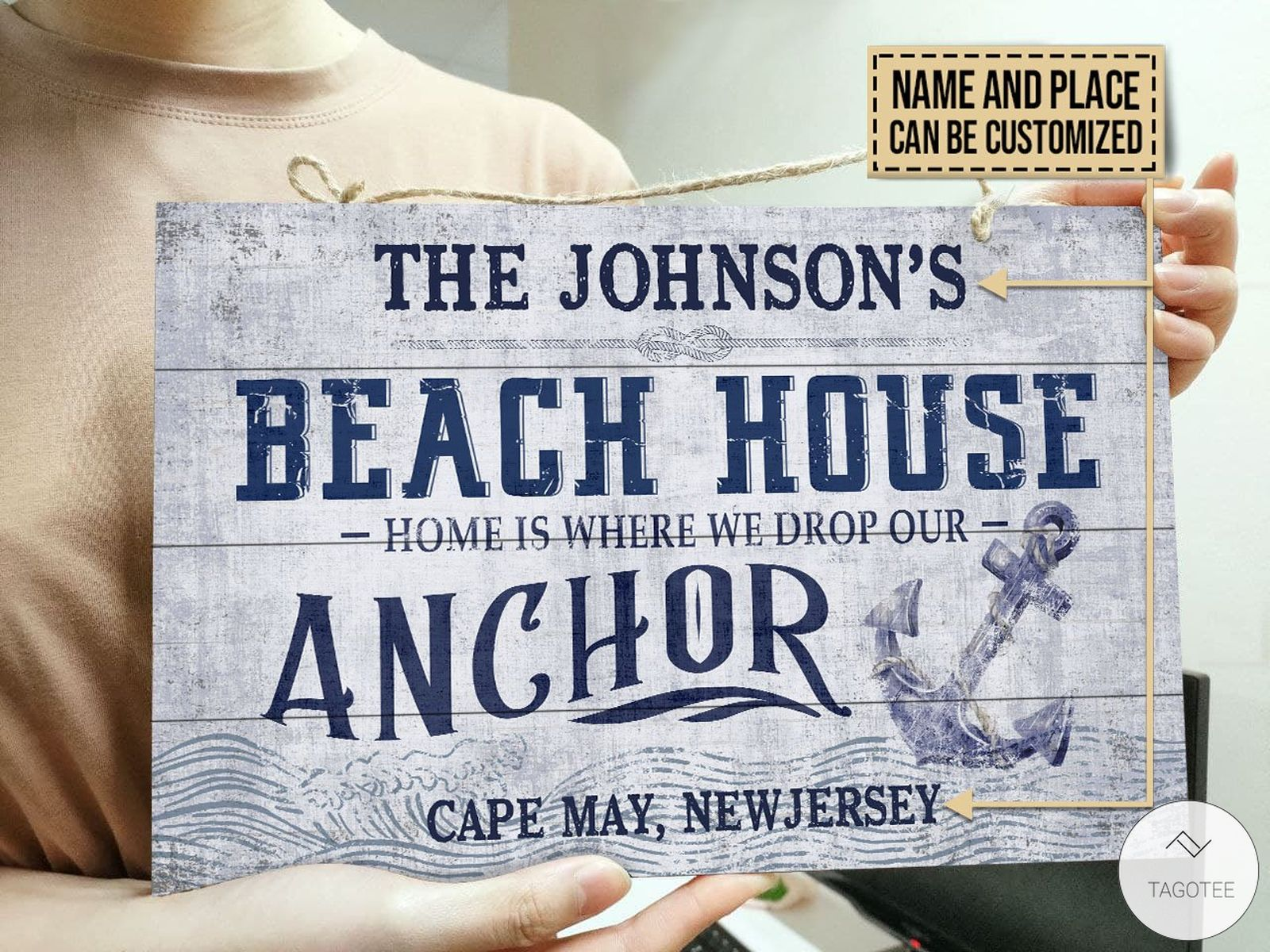 Personalized Beach House Drop Our Anchor Rectangle Wood Signc
