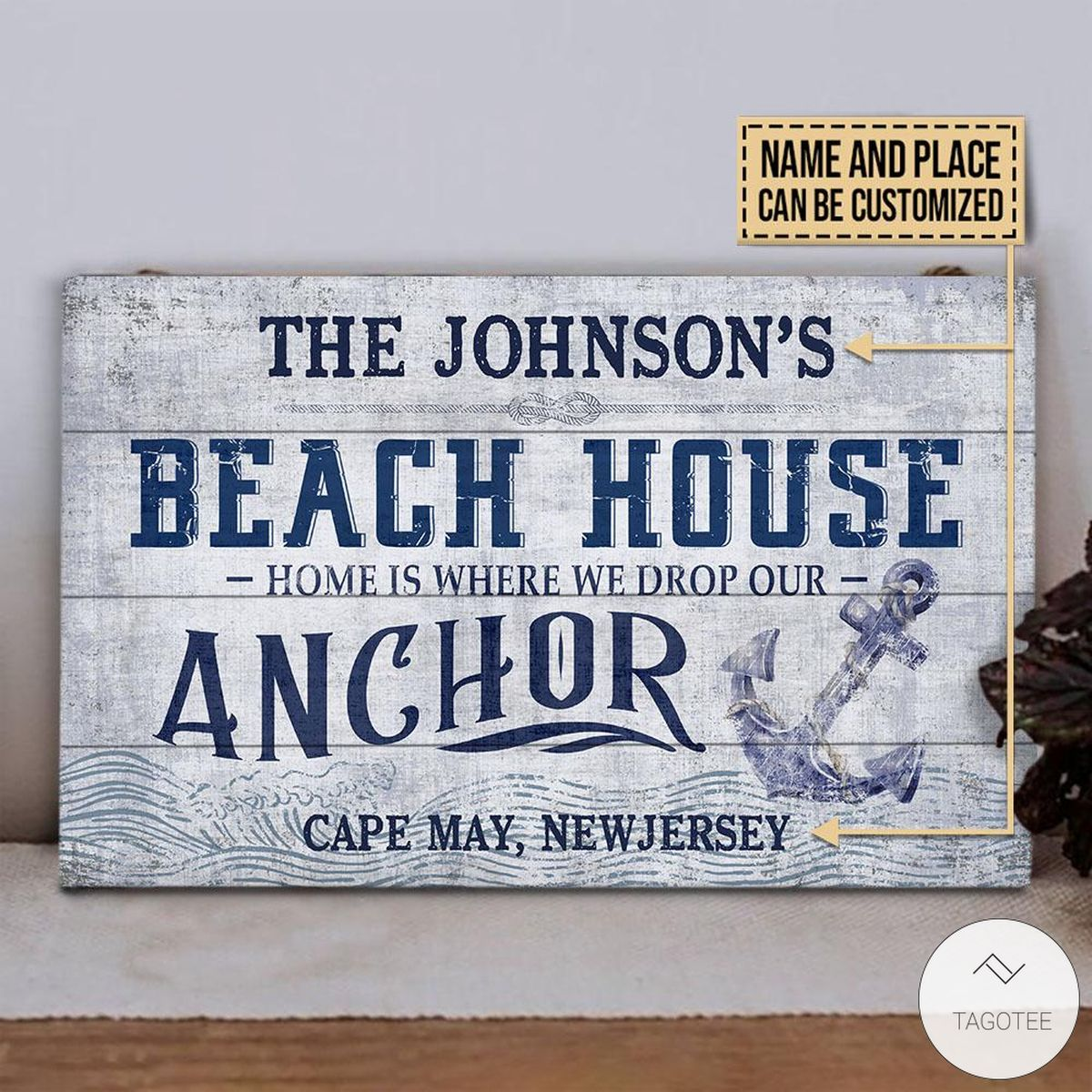 Personalized Beach House Drop Our Anchor Rectangle Wood Signx