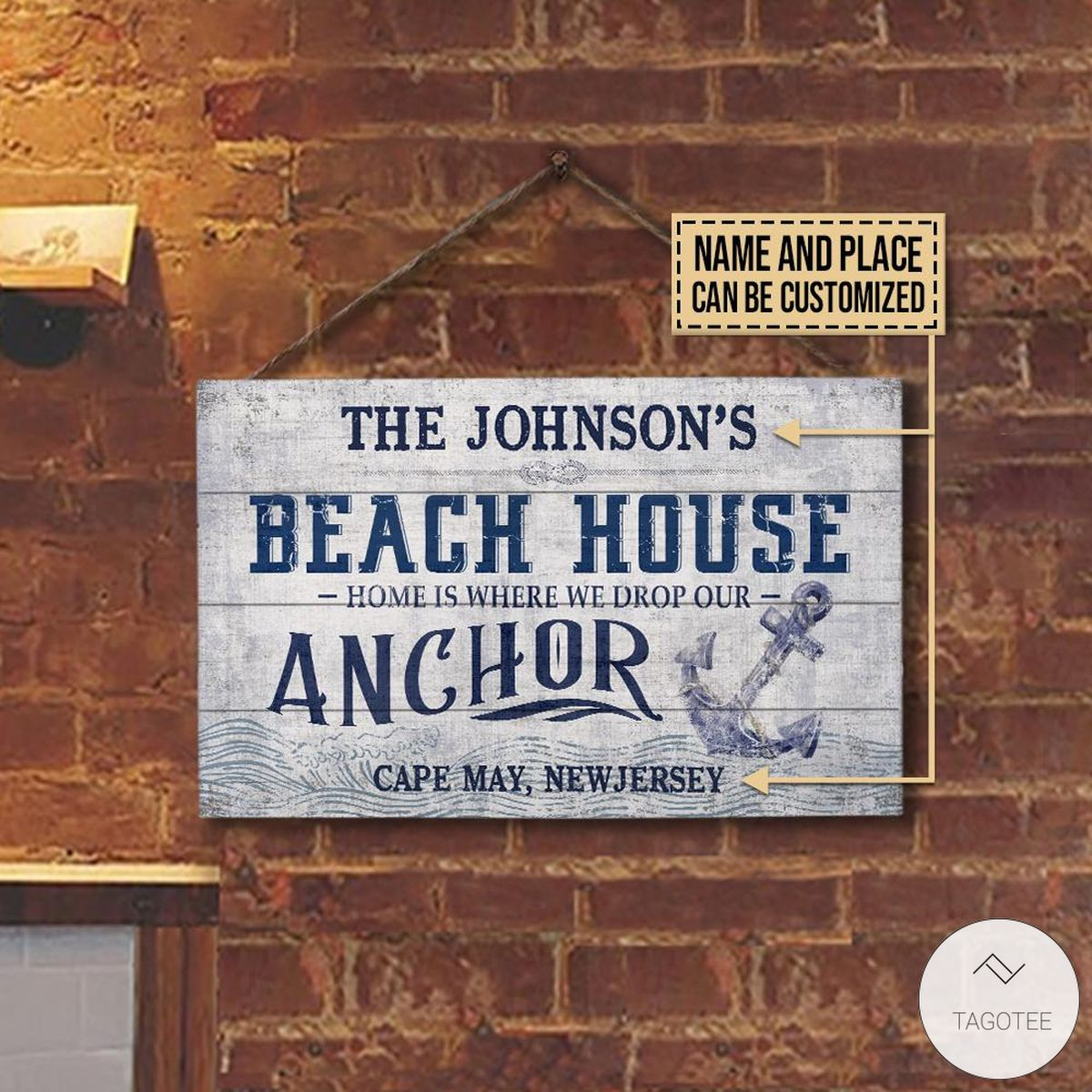 Personalized Beach House Drop Our Anchor Rectangle Wood Signz