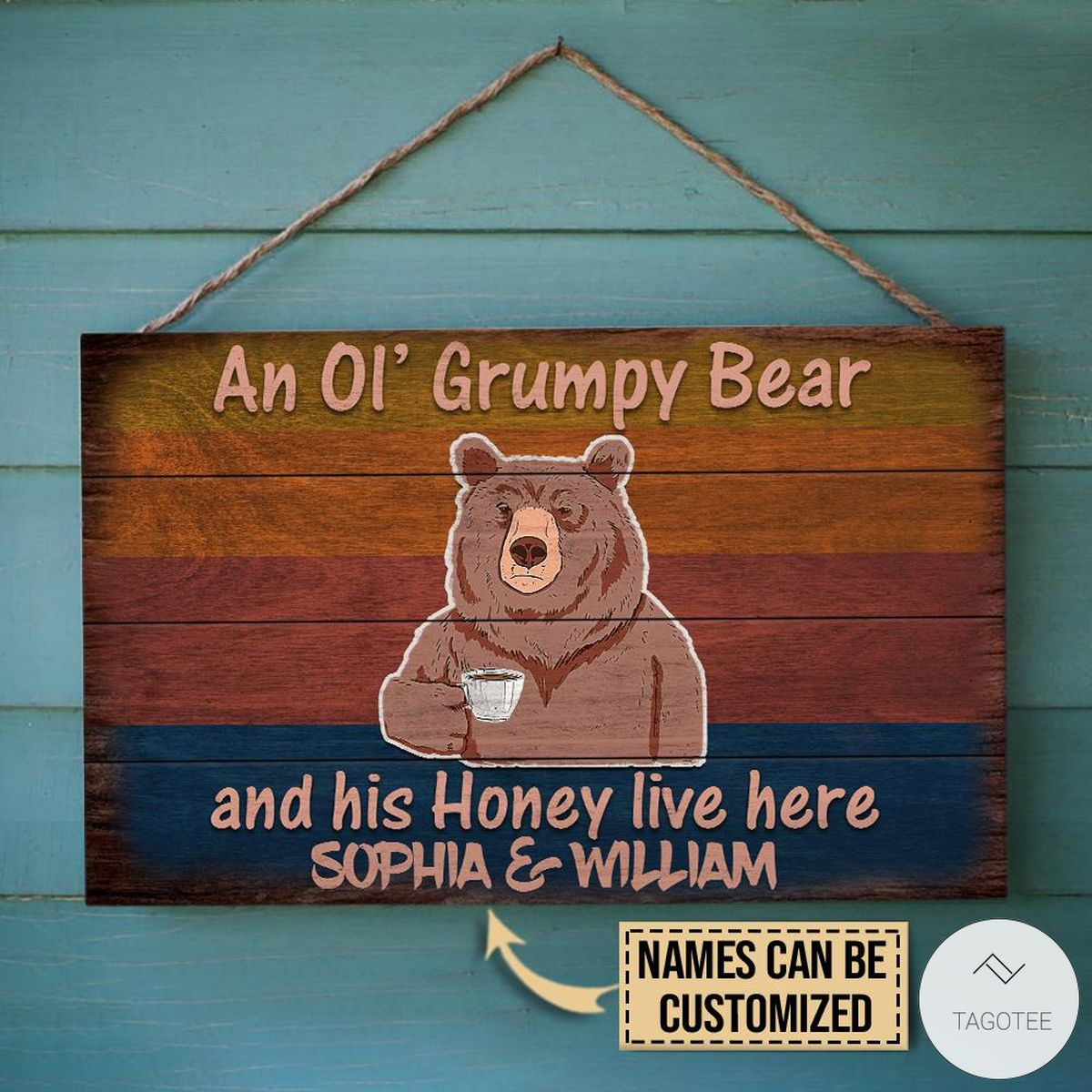 Personalized Bear An Ol' Grumpy Bear And His Honey Live Here Rectangle Wood Signx