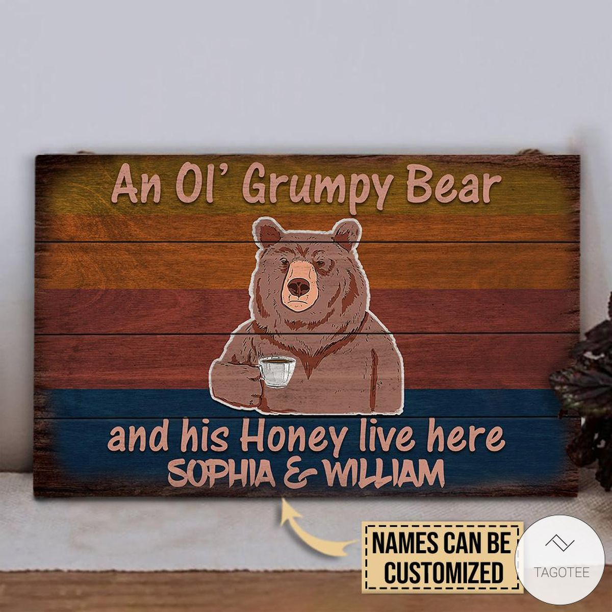 Personalized Bear An Ol' Grumpy Bear And His Honey Live Here Rectangle Wood Signz