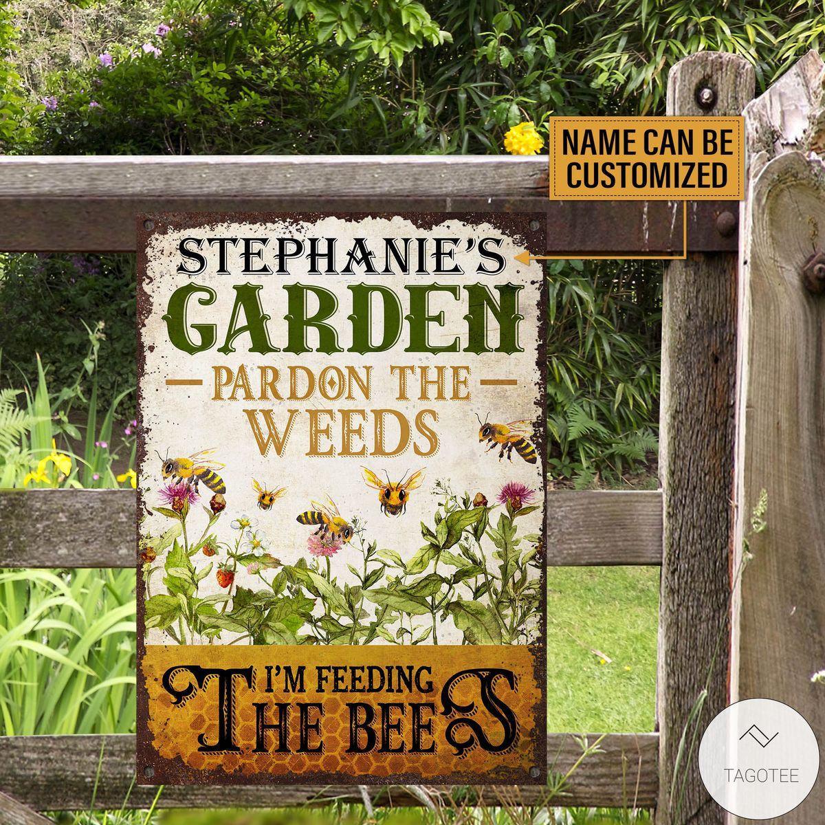 Personalized Bee Garden Pardon The Weeds I'm Feeding The Bees Metal Signs