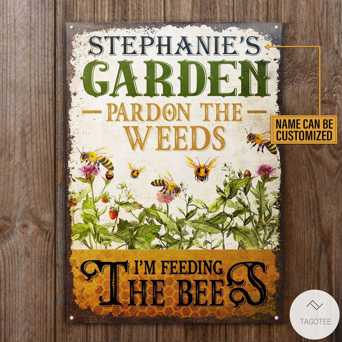 Personalized Bee Garden Pardon The Weeds I'm Feeding The Bees Metal Signsc