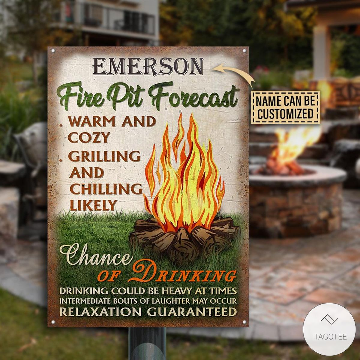 Personalized Camping Fire Pit Forecast Warm And Cozy Metal Signs